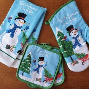 Other - Christmas Kitchen Linen Set 5pc Towels Mitts